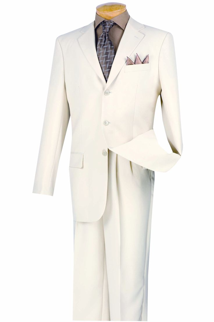 White Suit Men's Classic Fit Three Buttons Design Everyday Suits