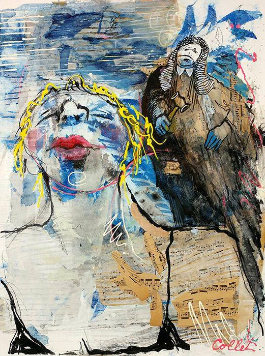 """The Judge On Her Back/Le juge sur son dos - Mixed media on paper/techniques mixtes sur papier - 18"""" x 24"""""""