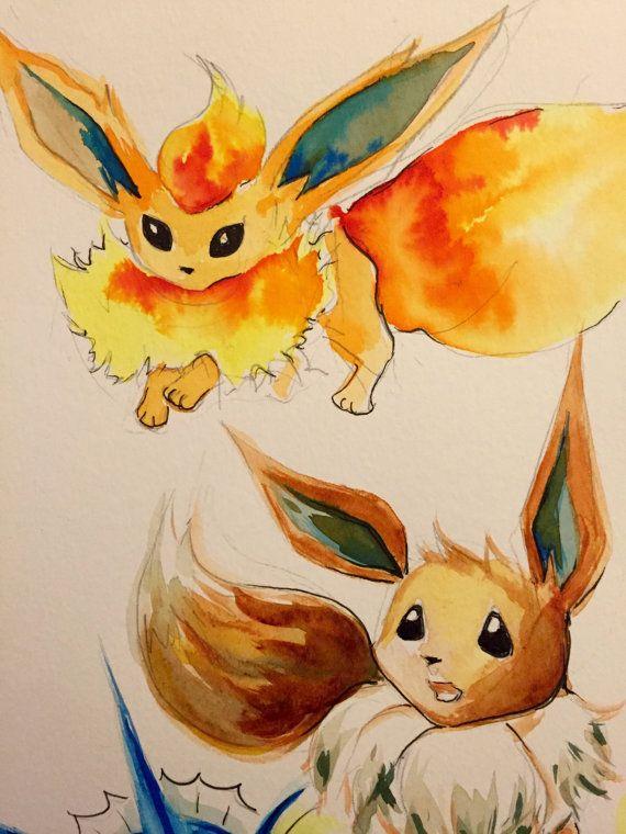 Pokemon art / Evoli évolution / Pyroli Aquali par WildLittleMango#Sparky #eevee #pokemon #Vaporeon #Jolteon #Rainer #flareon #Pyro