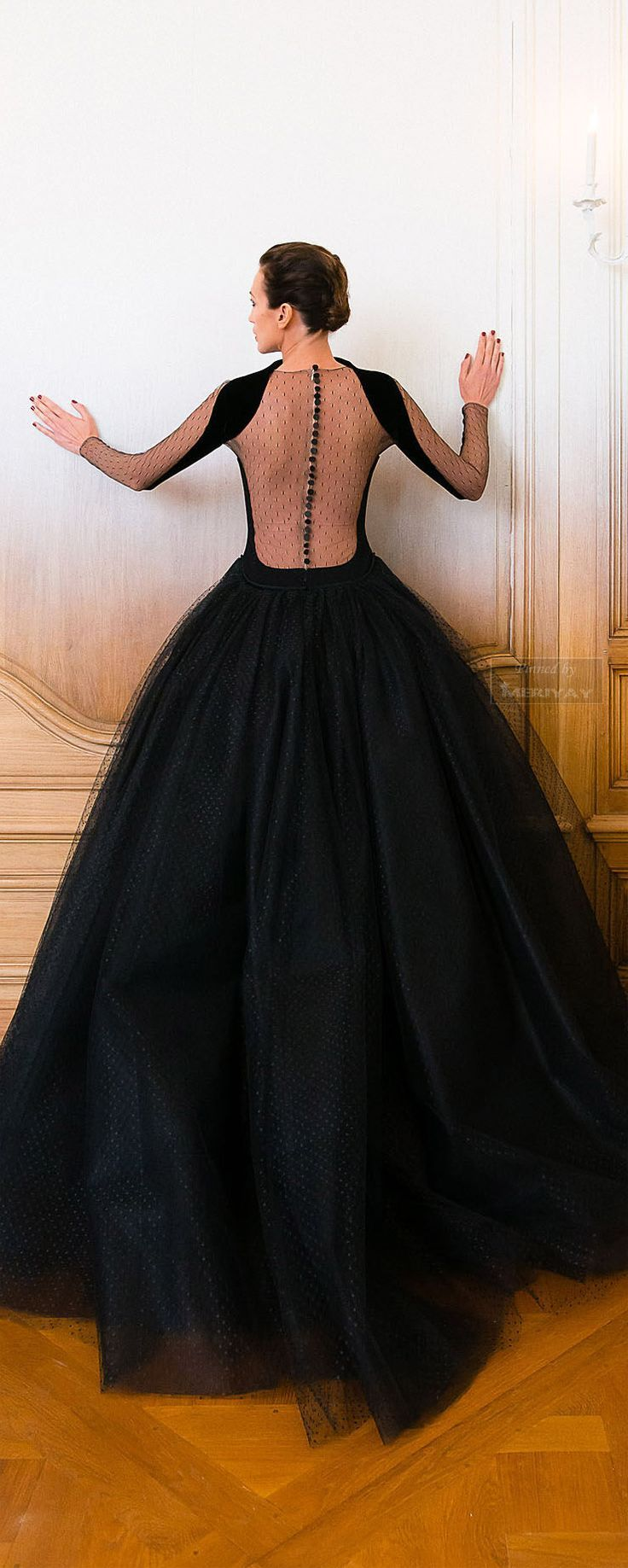 Not vintage, but ab fab stunning! Black dress ballgown backless tulle sheer sleeves Stéphane Rolland Fall 2014-2015
