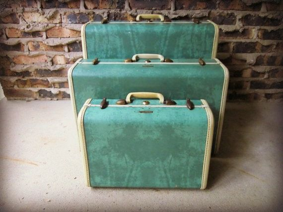 Reserved- First Payment / Vintage Emerald Green Samsonite Marbled ...