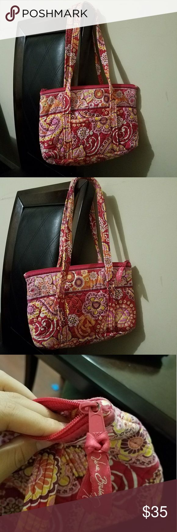 "Vera Bradley little betsy tote, retired pattern Floral, pink, yellow, orange, red... has 1 pocket outside and 6 pockets inside, 100% cotton, machine wash. W: 11.75""... tall: 8"" Vera Bradley Bags Shoulder Bags"