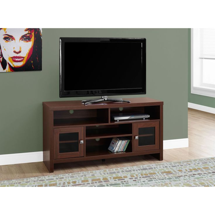 monarch glass mdf and metal 48inch long warm cherry tv stand tv stand 48l warm cherry with glass doors red