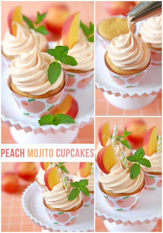 Delicious Peach Mojito Cupcakes and matching free printable wrappers!