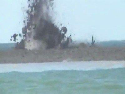 Mud Volcano Erupts In Sea of Azov in Ukraine.