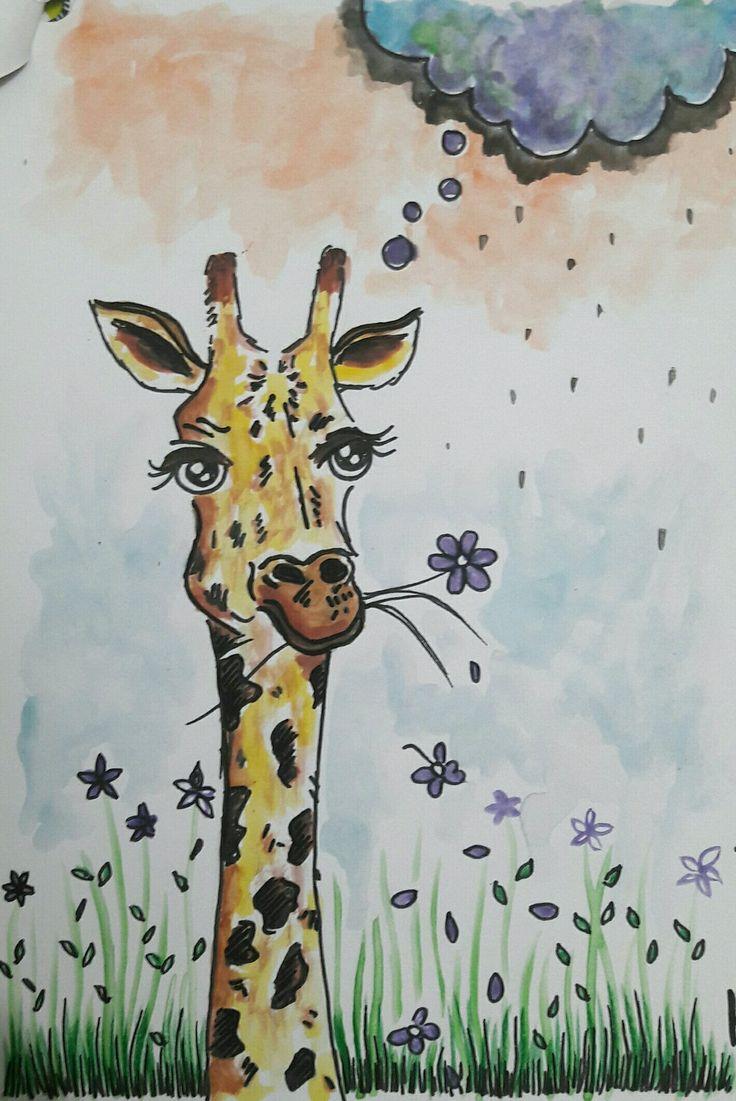 Ilustración: jirafa acuarela