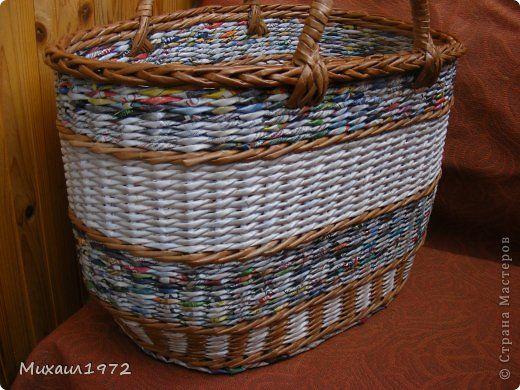 Поделка изделие Плетение Корзина для овощей Трубочки бумажные фото 1