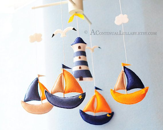 Sailing Baby Mobile Nautical Mobile Baby Boy di AContinualLullaby