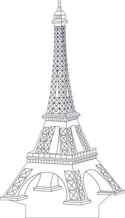 3D illusion eifel premium vector drawing