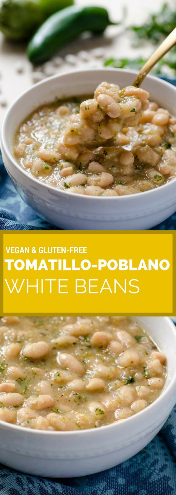 These tomatillo poblano white beans are a warm stew of perfectly creamy beans, tart tomatillos, spicy poblano pepper, onion, cumin, and oregano. They can be made in less than 40 minutes in your Instant Pot. veganmexican   instantpot   vegan   gluten-free   stew   healthy