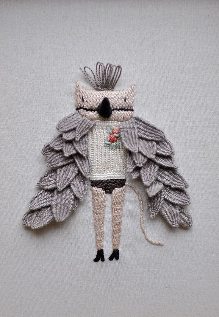 My little Cat loves to fly — hand embroidery by Miga de Pan