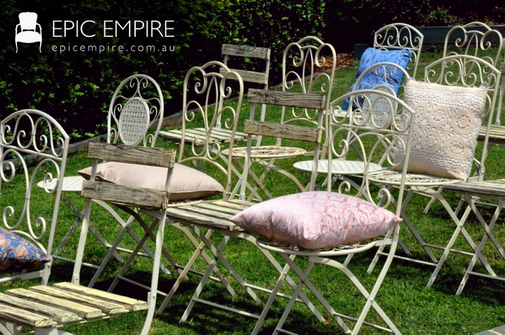 A very lovely combination of Wrought Iron chairs put together for the ceremony. With assorted cushions for delicate touch. #chairs #vintage #assortment #wroughtiron #epicempire #queensland #australia #events #ceremony http://www.epicempire.com.au/chairs/?sort=featured=2