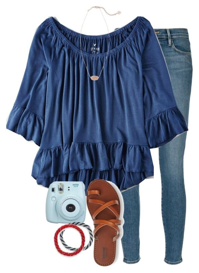 """getting this shirt for my bday!!"" by elizabethannee ❤ liked on Polyvore featuring Frame Denim, American Eagle Outfitters, Kendra Scott and Aid Through Trade"