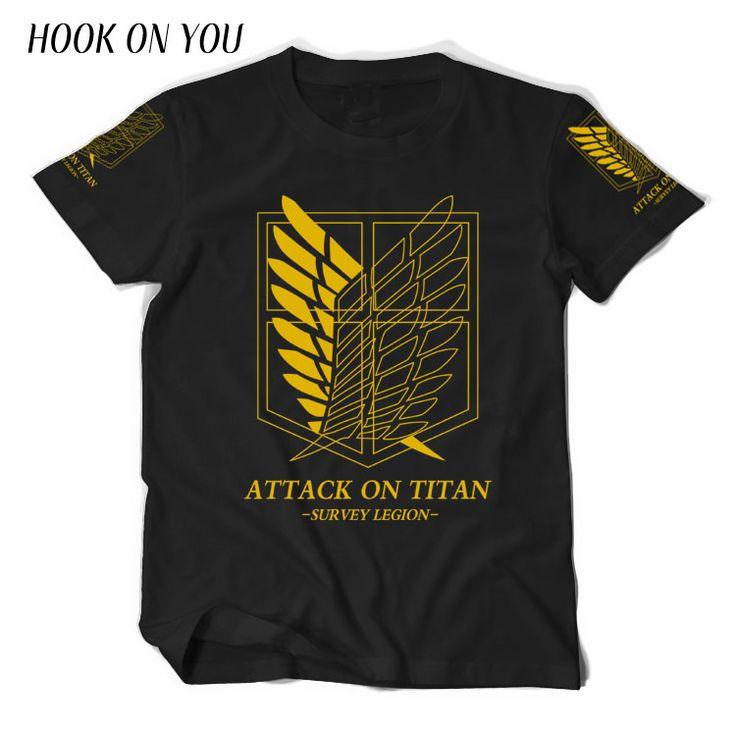 Japanese Anime Attack on Titan T Shirt Cosplay Costume Shingeki no Kyojin Cartoon T-Shirt Tee 100% Cotton Golden Anime tees