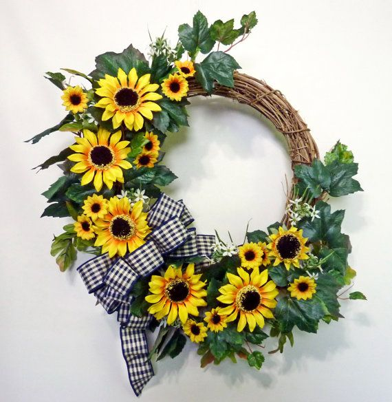 Sunflower Wreath Summer Wreath For Door Fall Wreath by Floralwoods, $33.00