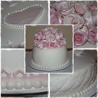 White marzipane wedding cake with pink roses