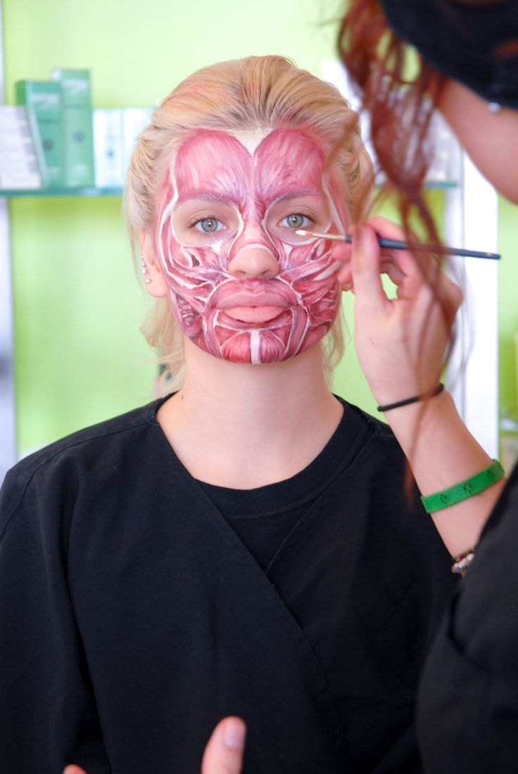 Tricoci University of Beauty Culture student Hayley Beck performs a Kryolan makeup demo of the facial muscle tissue at the Glendale Heights campus.