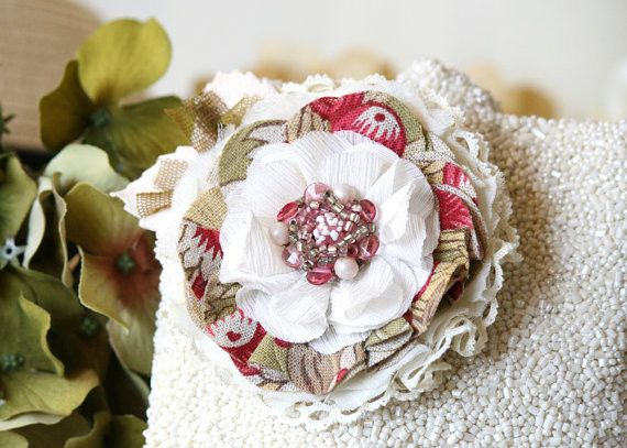 pink and white shabby chic fabric flower pin