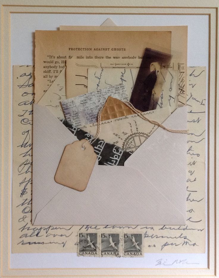 """""""Protection against Ghosts."""" Collaged scrap, ephemera, and vintage papers. From Salon de Refuse Studio, artist Rita McNamara. 11X14, matted."""