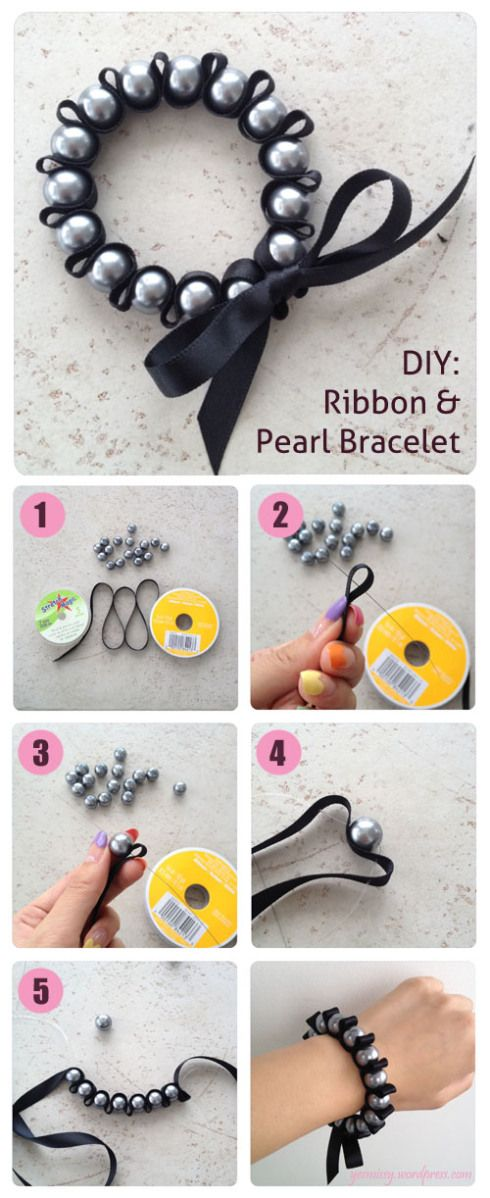 DIY: Ribbon Pearl Bracelet tutorial. All in attendance can make these during lunch as a keep sake of the conference. Use pearl beads and blue toned ribbon.