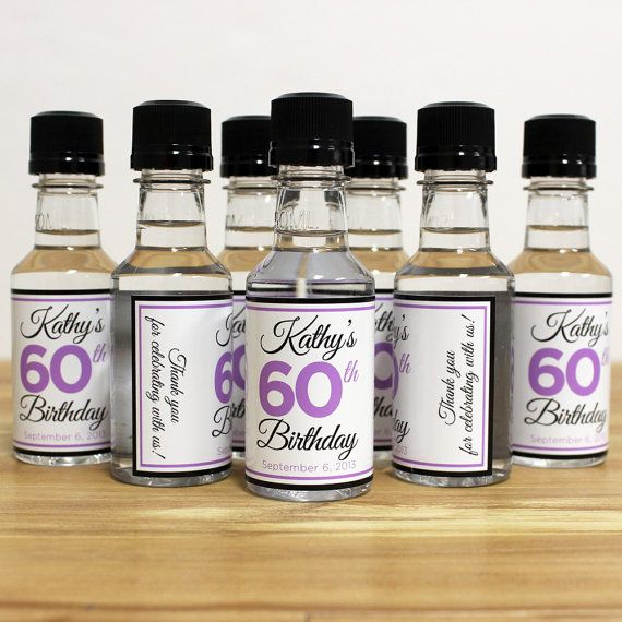 50th Birthday Liquor: Custom Mini Bottle Birthday Favors Personalized Liquor