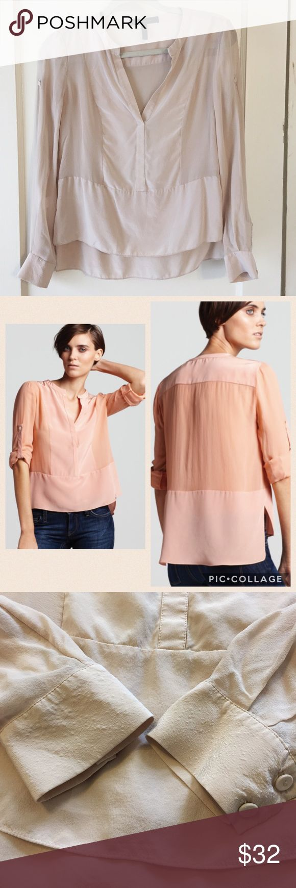 "BCBG MAXAZRIA ""Liberty"" Blouse 100% silk. Color is ""bare"" - beautiful nude color (please note that model is wearing pink to showcase fit only.) Top is in excellent condition - there are some small bubbles on wrist cuffs (see pic), not sure if they were there when bought or not but do not effect wearability. BCBGMaxAzria Tops Blouses"