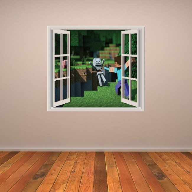 minecraft sticker wall art window scene new in home on wall stickers for home id=50880