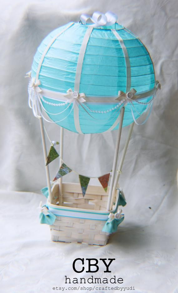 Hot Air Balloon Decoration Ivory White Lightblue Map