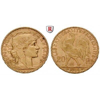 Frankreich, III. Republik, 20 Francs 1899-1914, 5,81 g fein, ss-vz: III. Republik 1871-1940. 20 Francs 21 mm 5,81 g fein, 1899-1914.… #coins