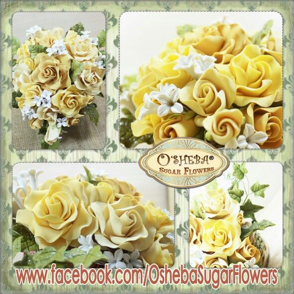 Golden Yellow Roses osheba handmade gumPaste flowers. made from Surabaya-Indonesia visit us at: www.facebook.com/gumpasteoshebaindonesia