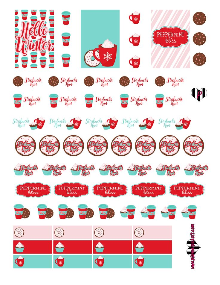 Hey guys, Wanted to share this free printable for all you starbucks seasonal lovers out there! Here is a peppermint bliss sticker print...