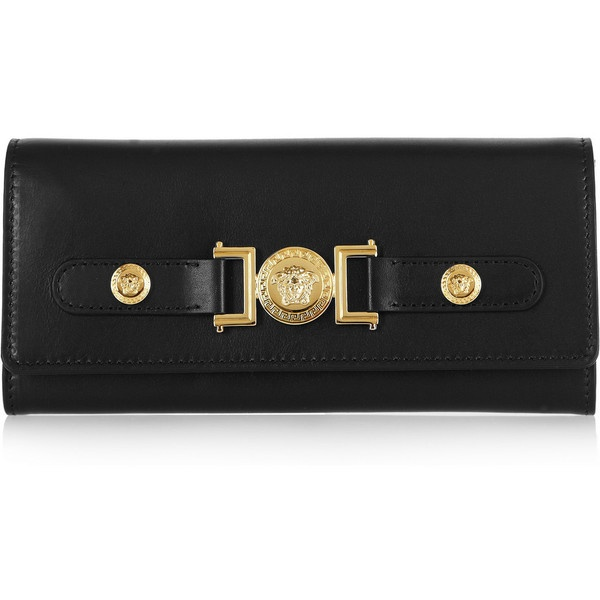 Versace Leather continental wallet ($510) ❤ liked on Polyvore