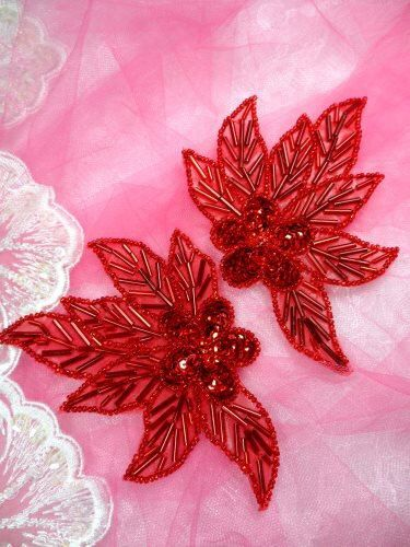 Mirror Pair Beaded Sequin Appliques Measures: 4.5 x 3 each  You are buying a pair as pictured.