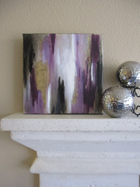 Abstract Painting Purple White Black Metallic Gold