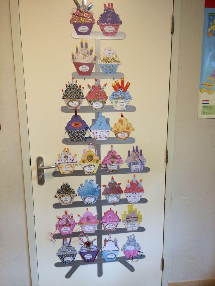 Verjaardagskalender cupcake etagère :)