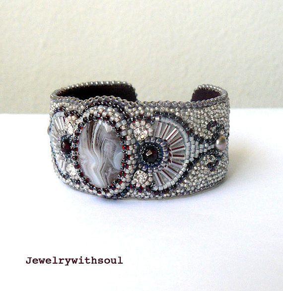 Bead embroidery cuff bracelet with Botswana by jewelrywithsoul