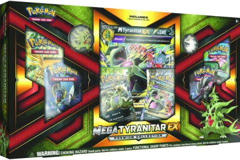 The Pokémon TCG: Mega Tyranitar-EX Premium Collection includes:      - 1 foil card featuring Mega Tyranitar-EX      - 1 foil card featuring Tyranitar-EX      - 1 Spirit Link card to get this Mega Evolution Pokémon into play fast      - 1 Mega Tyranitar collector's pin      - 6 Pokémon TCG booster packs to mega-expand your collection      - 1 foil oversize Mega Tyranitar-EX card      - 1 cool new Mega Tyranitar coin      - A code card for the Pokémon Trading Card Game Online