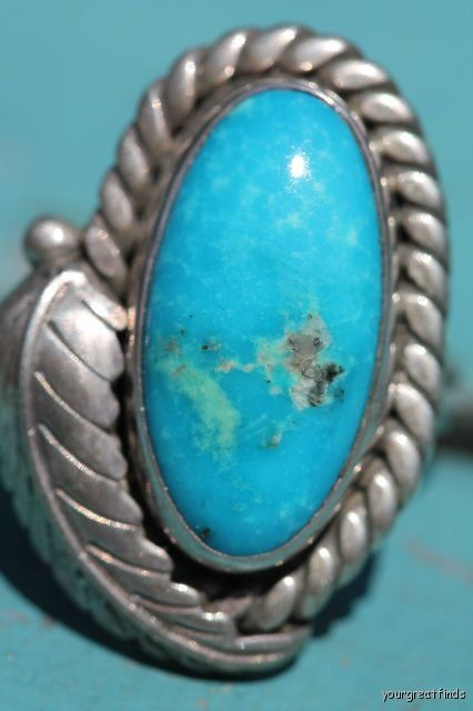 Vintage Navajo Style Sterling Silver Turquoise Ring -New Old Store Stock