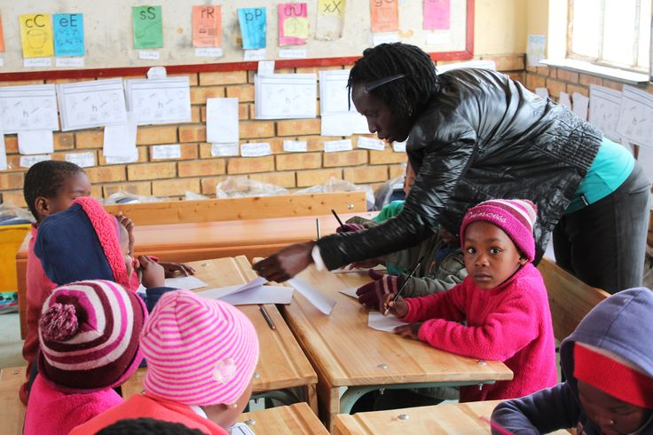 Ms Ntombomhlaba, a SANTS Diploma in Grade R Teaching student teacher, involving learners in a Life Skills activity during her practice teaching at the Maxama Primary School located in the Cofimvaba area, Eastern Cape.