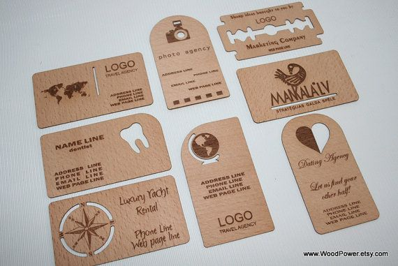 Wooden Business Card  / Unique Design  / Set of 10 / by WoodPower, $10.00
