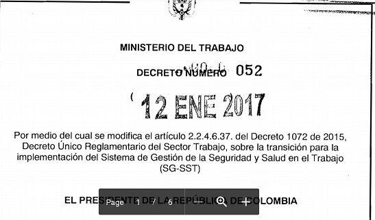 SGSST | Decreto 52 del 12 de Enero del 2017- Plazo para el SGSST