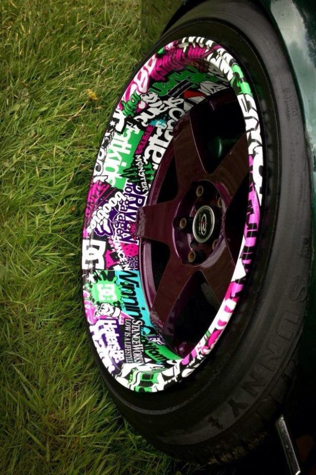 Sweet rims Want that #StickerBomb look but don't want to spend years of your life on it? Try #Rvinyl #StickerBombWraps @zarey rey