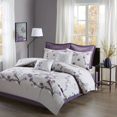 Madison Park Holly Queen Comforter Set in Purple