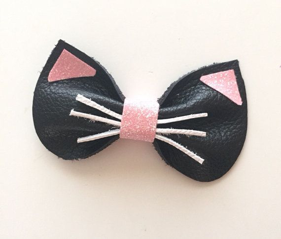 Leather Kitty Bow by KerleyGirls on Etsy