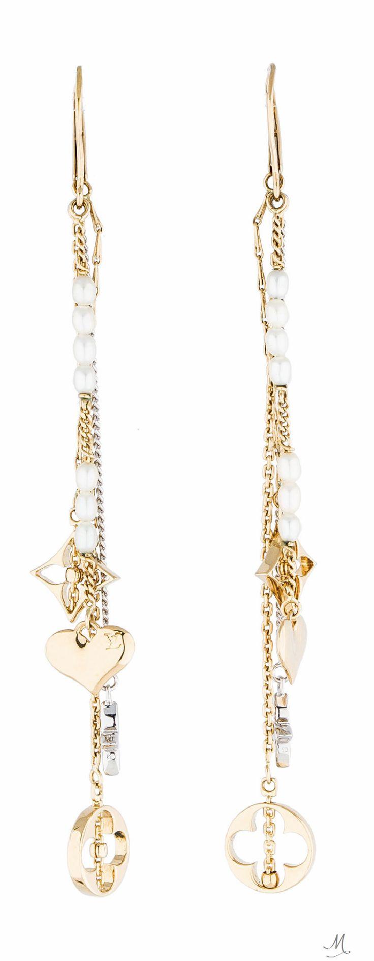 Louis Vuitton Monogram Pearl Drop Earrings