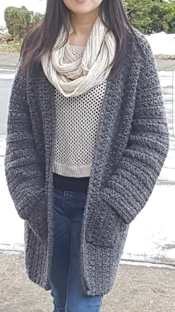 """A simplified version of my other pattern Simply X-Stitch Lounge Cardigan, this basic but trendy cardigan is very quick and easy to make. Designed using worsted weight yarn approximately 1400 - 2000 yards and crochet hook size J / 5.5 mm. X-Stitch adds textured look go the cardi without too much holes in the fabric. Collarless cardigan is perfect to pair with a scarf. Looks great with jeans or leggings too! Pattern is written in multiple sizes:Sizes ( Bust ) S/M : 44"""" L: 48&quot..."""