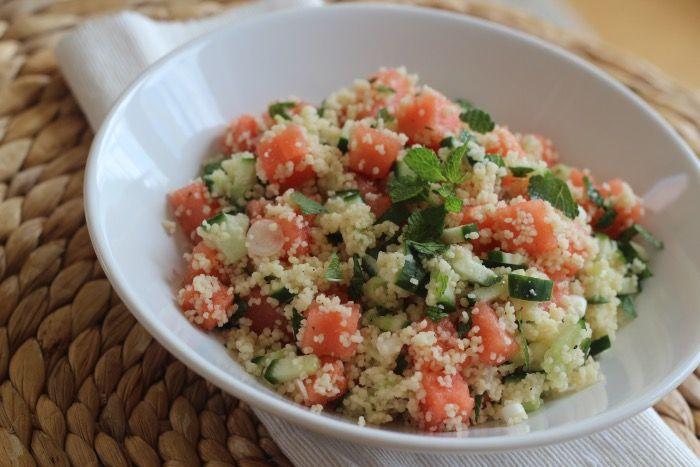 Recept: Couscous salade met Watermeloen, feta en munt