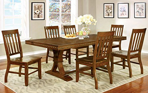 Furniture of America Castile 7Piece Transitional Dining Set Dark Oak ** Want additional info? Click on the image.