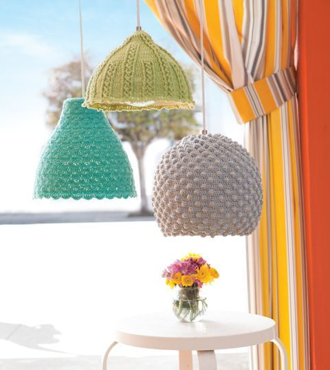 For this project all you need is some yarn and a crocket hook. Depending on the size and shape of your pendant lamp, you have to decide how you're going to continue. The idea is to cover the lamps in stitch patterns inspired by the sea.{found on crochettoday}
