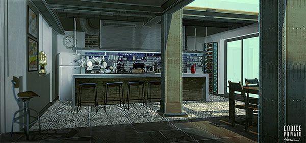 Environment interior - Modern kitchen Cinema set Codice Privato by Silva Giovanni